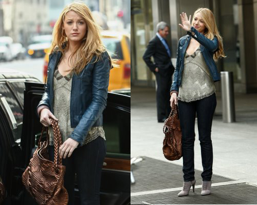 Blake Lively was seen on the set of Gossip Girls today wearing a blue