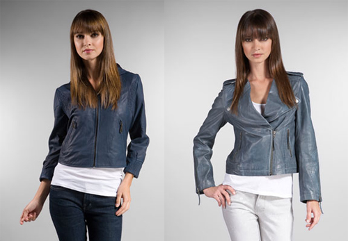 On right: William Rast Braided Leather Jacket in Petrol Blue