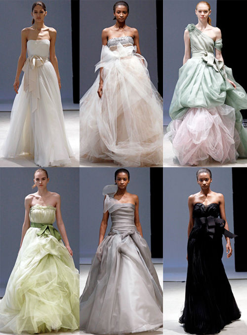 wedding gowns and I like that she infused color in the her Spring line